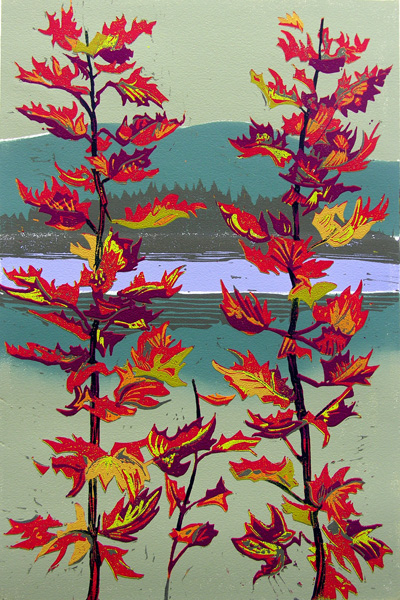 "Susan Jaworski-Stranc,  Passage Through the Season's Fluttering Fire , reduction linoleum print on paper, 25 1/4"" x 18 1/4"" framed, $725"