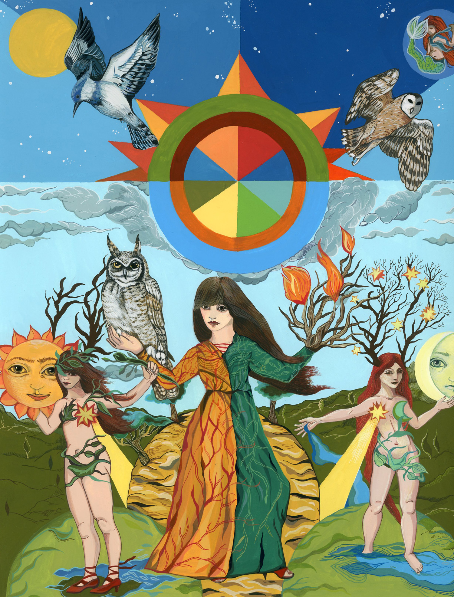"Boriana Kantcheva,  Triple Goddess , gouache on paper, 16"" x 14"" framed, $800"