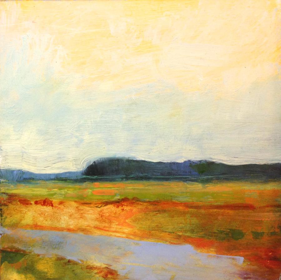 "Heather Pilchard, Great Island Walk , oil on panel, 5 3/4"" x 5 3/4"" framed, sold"