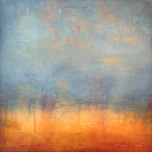 "Linda Cordner,  Flicker , encaustic and oil on board, 24"" x 24"" framed, $1,500"