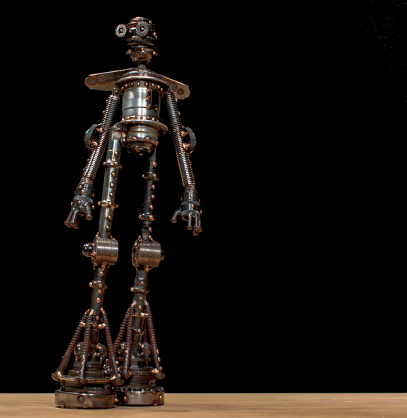 """Apollo #323 , Mercury-class astrobot, re-purposed bicycle parts, bearing rings, threaded rod, paper-shredder rollers, dulled thresher blades, rivets, washers, bolts, nut, copper, bronze, 19"""" x 8"""" x 4"""", sold"""