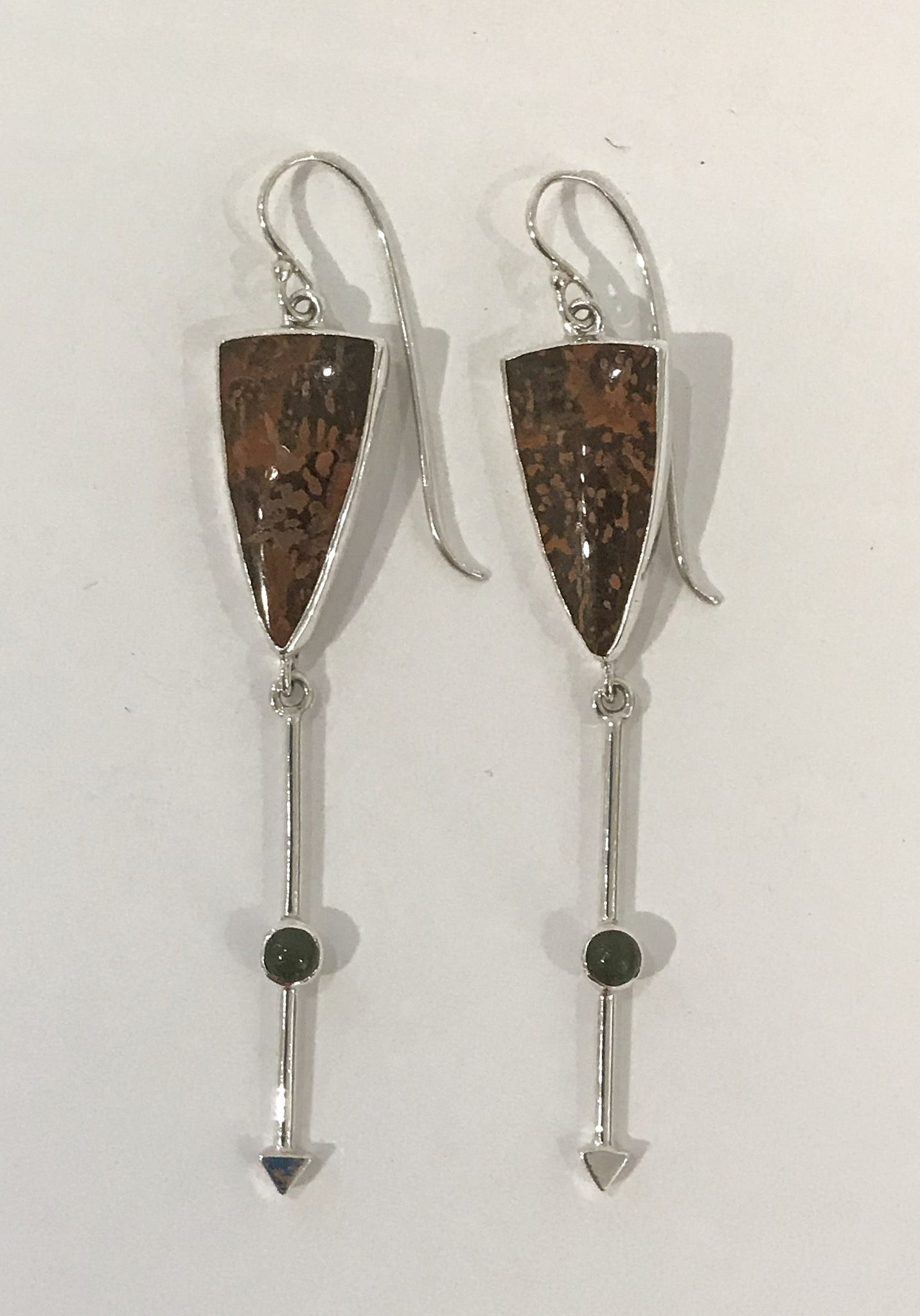 Sterling silver earrings set with spider jasper and jade, $140