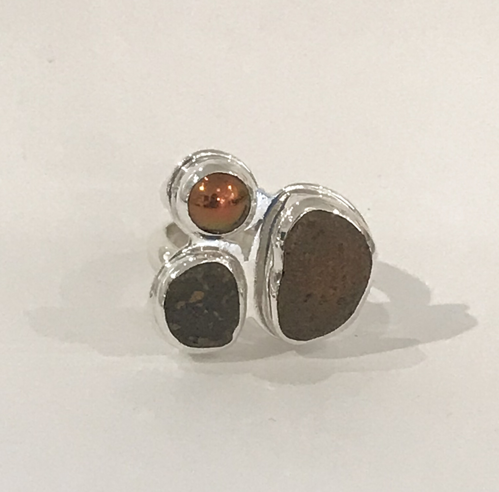Sterling silver ring set with two beach stones and bronze freshwater pearl, size 5 1/2, $240