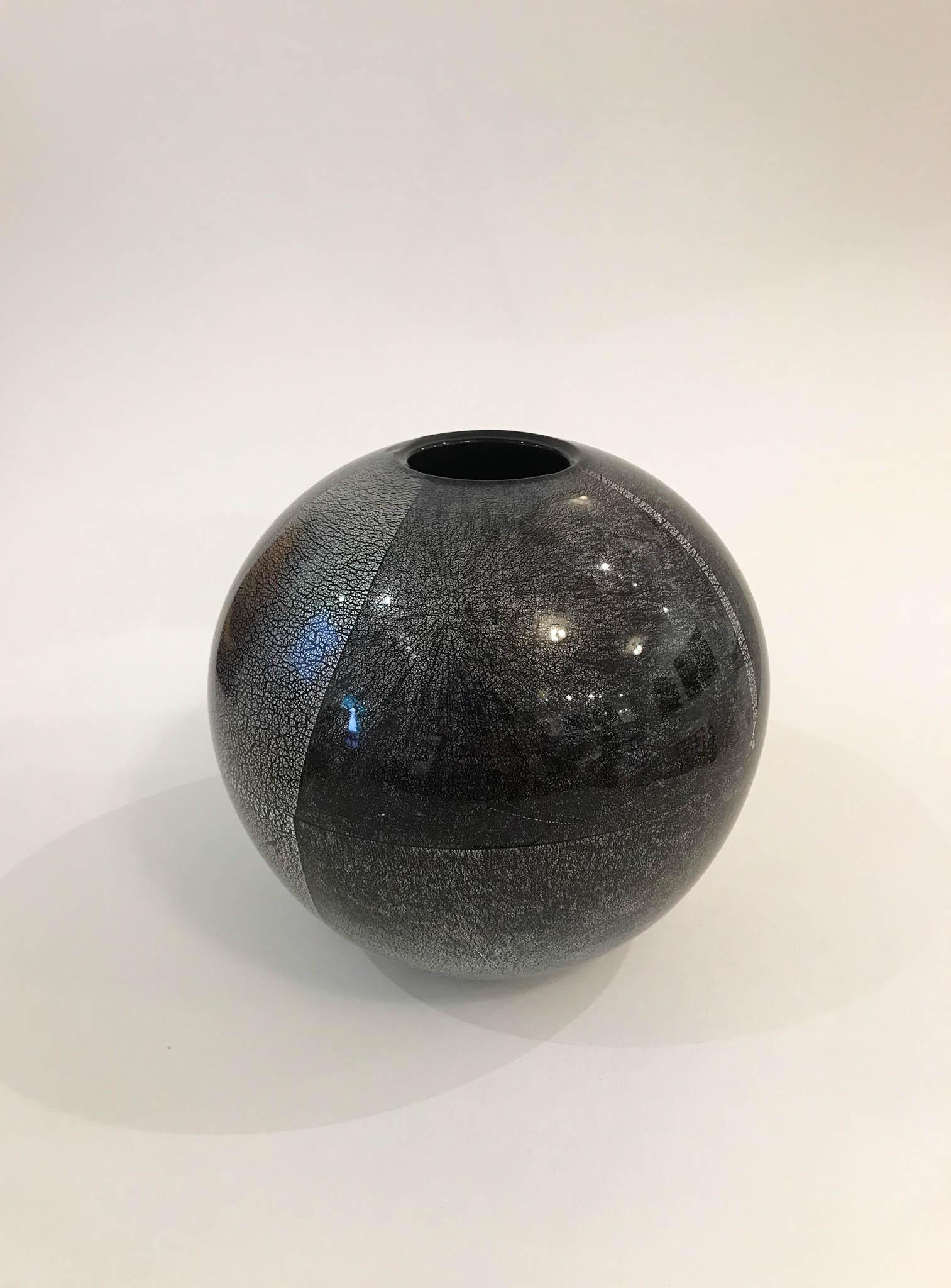 "Orb Vase , hand blown black glass with silver leaf, 6 1/2"" x 6 1/2"" x 6 1/2"", $265"