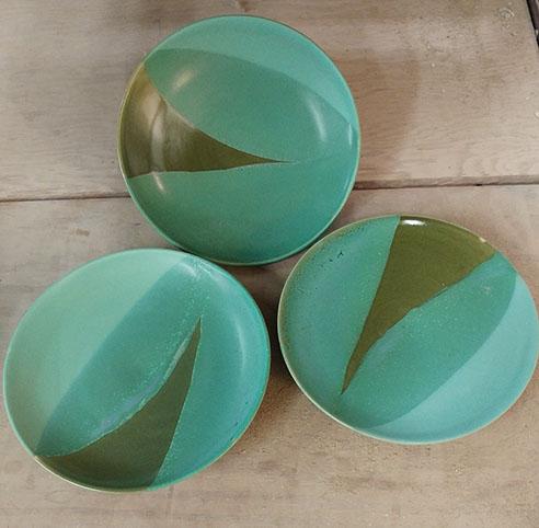 """Green plates, hand-thrown stoneware, 7 1/2"""" x 7 1/2"""", $45 each"""