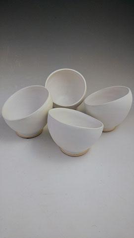 White slant bowls, hand-thrown stoneware, $28 each