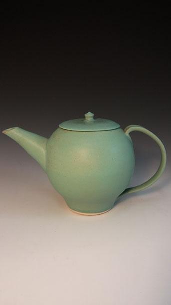 Green teapot, hand-thrown stoneware, $125