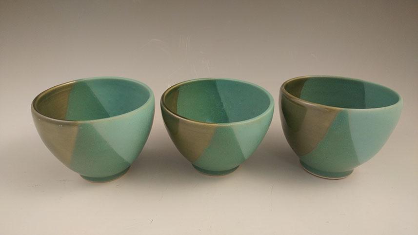 """Small green bowls, hand-thrown stoneware, 3 1/2"""" x 4 1/2"""",$36 each"""