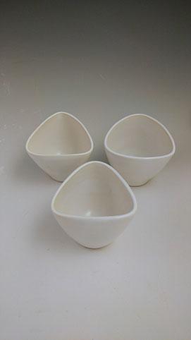 White triangular tumbler,hand-thrown stoneware, $28 each