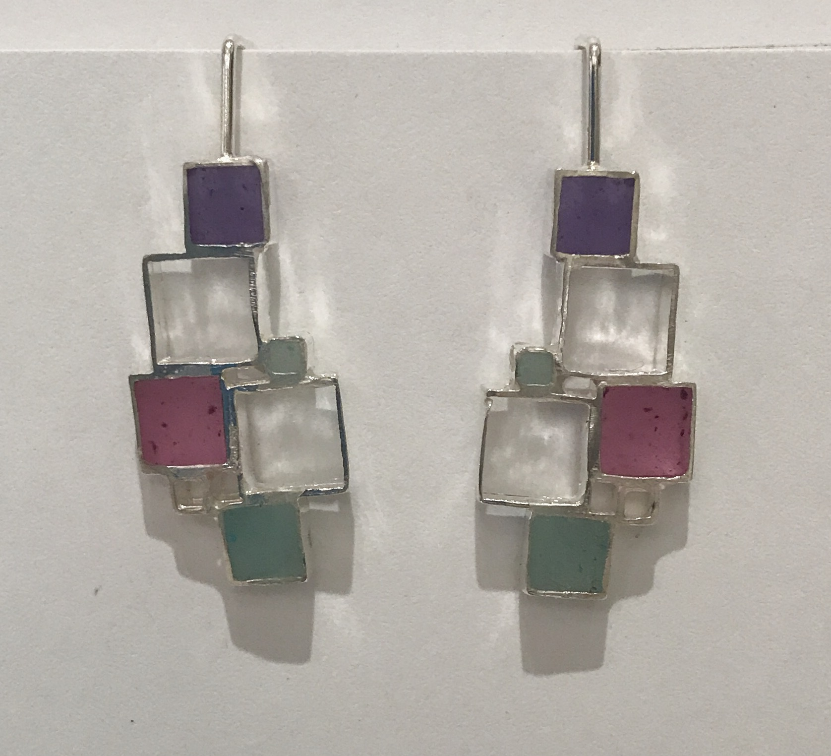 Open square earrings , sterling silver and resin
