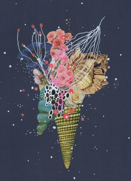 """Jenny Brown , Deep Sapphire Blossom , ink and found collage on paper, 12"""" x 10"""" framed, $225"""