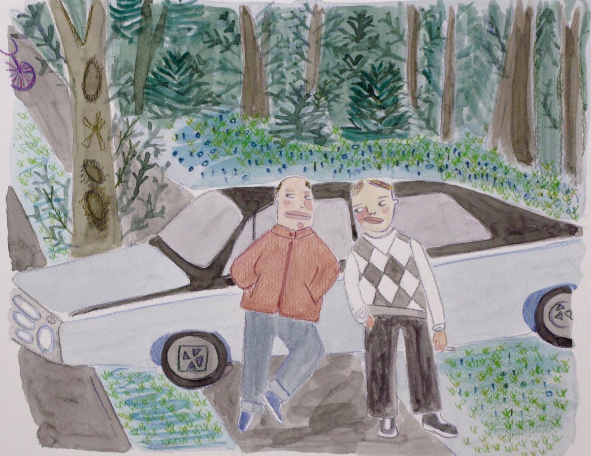 "Coco Berkman , Bad Boys , watercolor on paper, 18 1/4"" x 20 1/4"" framed, $400"