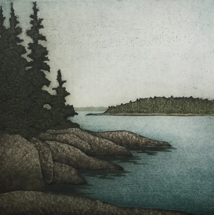 "Kathleen Buchanan , Stone Spruce Sea , collagraph on paper, 17 1/4"" x 16 1/4"" framed, $350"