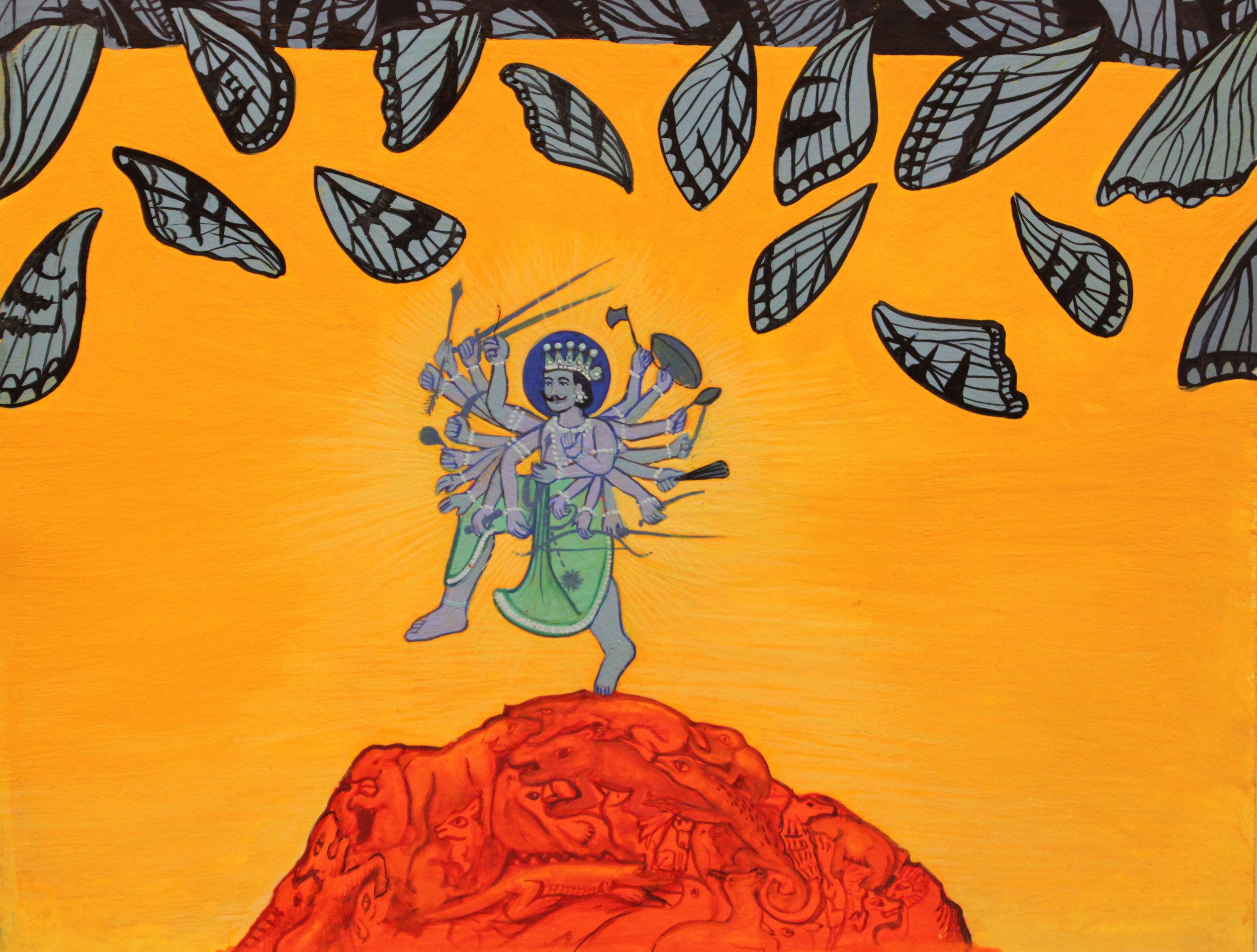 "John Campbell , Wings of Blue , gouache on paper, 10"" x 12"" framed, $300"