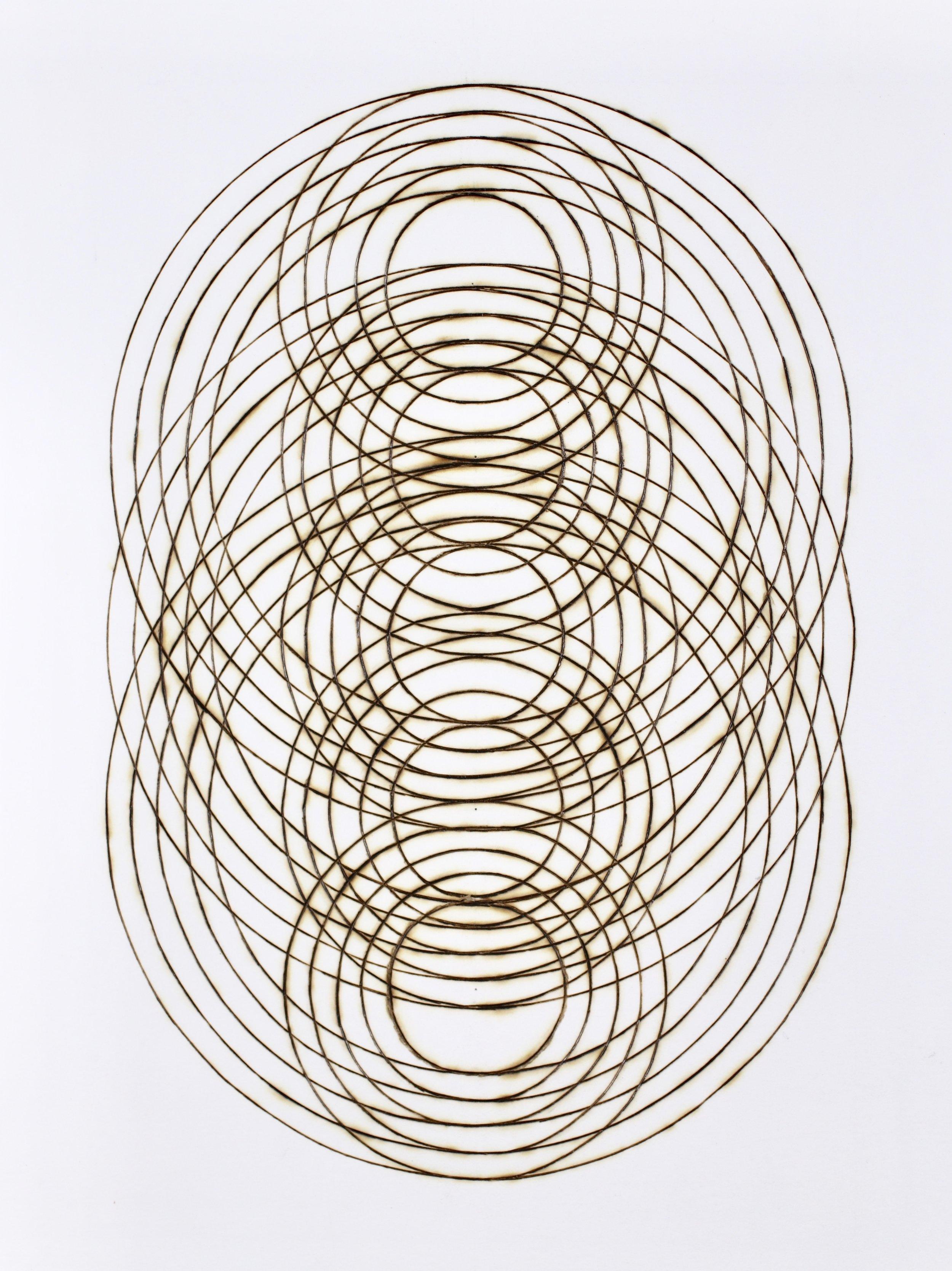"""Katrine Hildebrandt, Ripple Stack , burnt lines on paper, 15"""" x 12"""" framed, sold"""