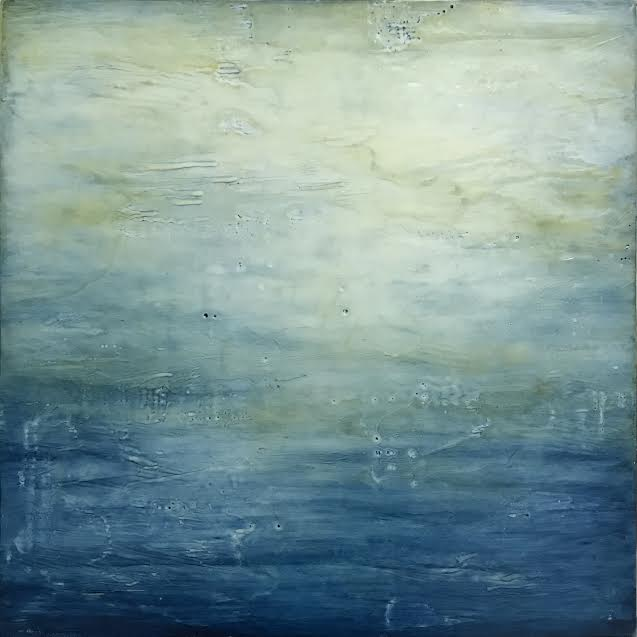 "Seascape , encaustic and oil on panel, 13"" x 13"" framed, sold"