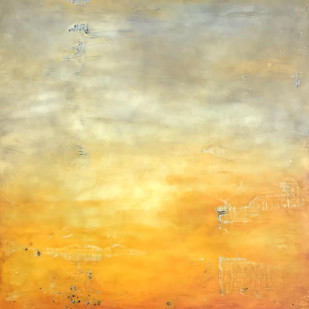 "Sunrise , encaustic and oil on panel, 13"" x 13"" framed, $550"