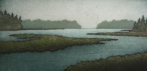 """Salt Marsh Morning, collagraph on paper, 15 1/4"""" x 20 1/2"""" framed, $350"""