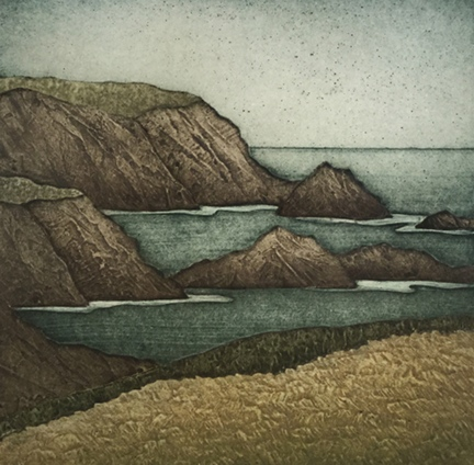 """Mayo Headlands, collagraph on paper, 17 1/4"""" x 16 1/4"""" framed, $350, available unframed, $225"""