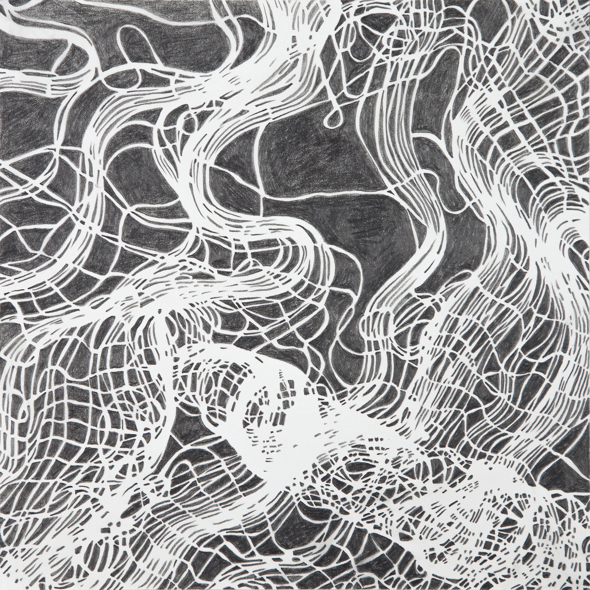 "Interwoven Study 3 , graphite on paper, 16"" x 16"" framed"