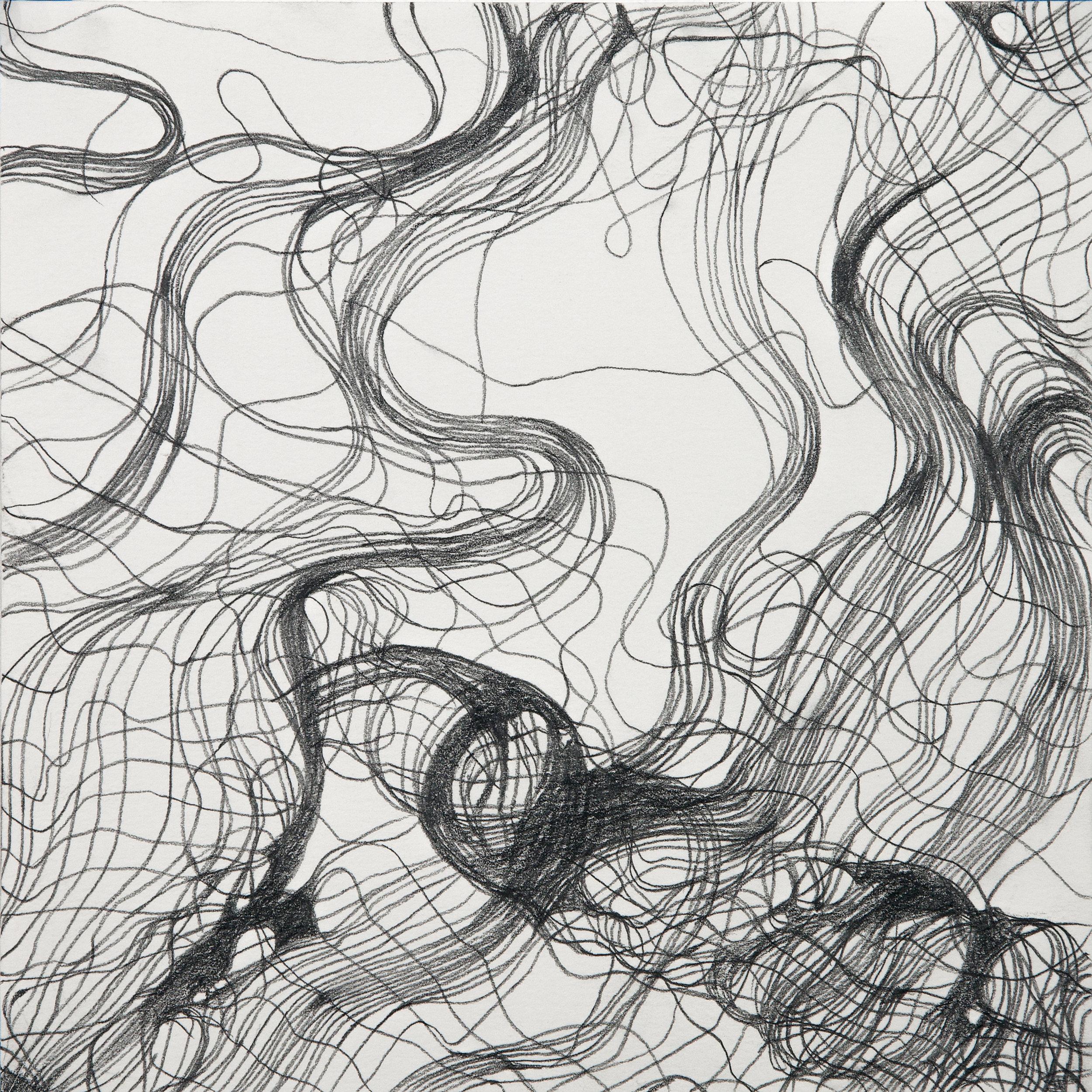 "Interwoven Study 1 , graphite on paper, 16"" x 16"" framed"