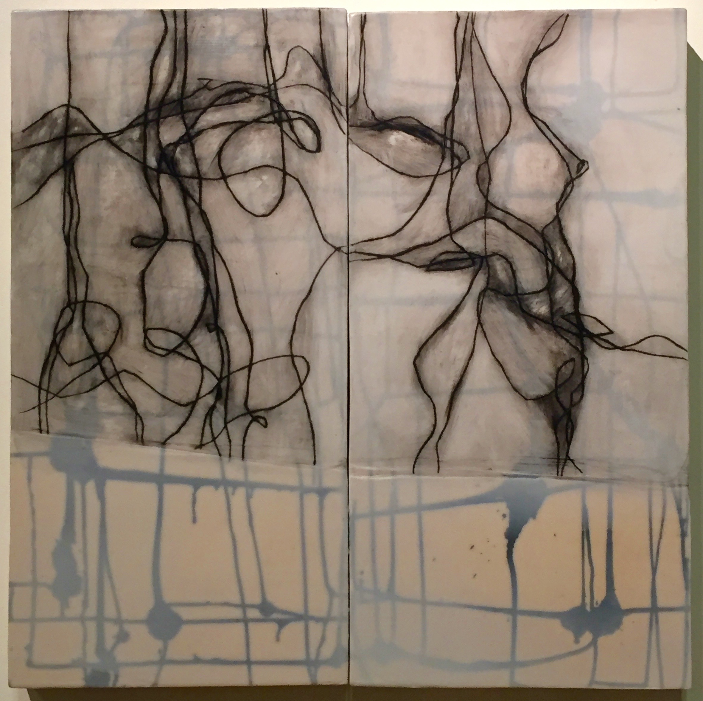 """Strong Union (diptych) , encaustic and oil on panel, 24"""" x 24"""" x 2"""""""