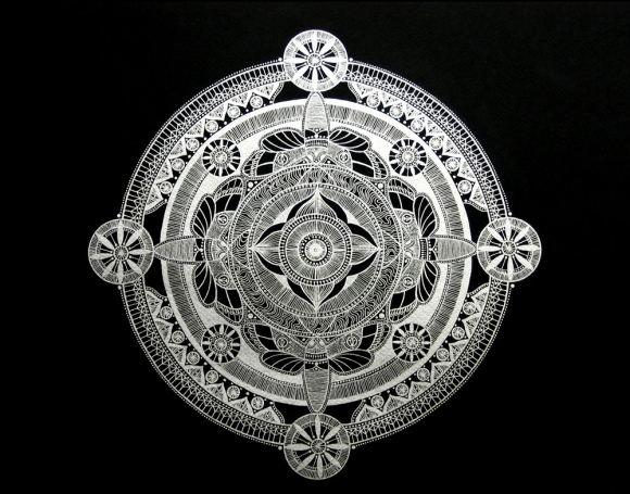 "Mandala #2 , silver ink on black paper, 16"" x 20"" framed, $900"