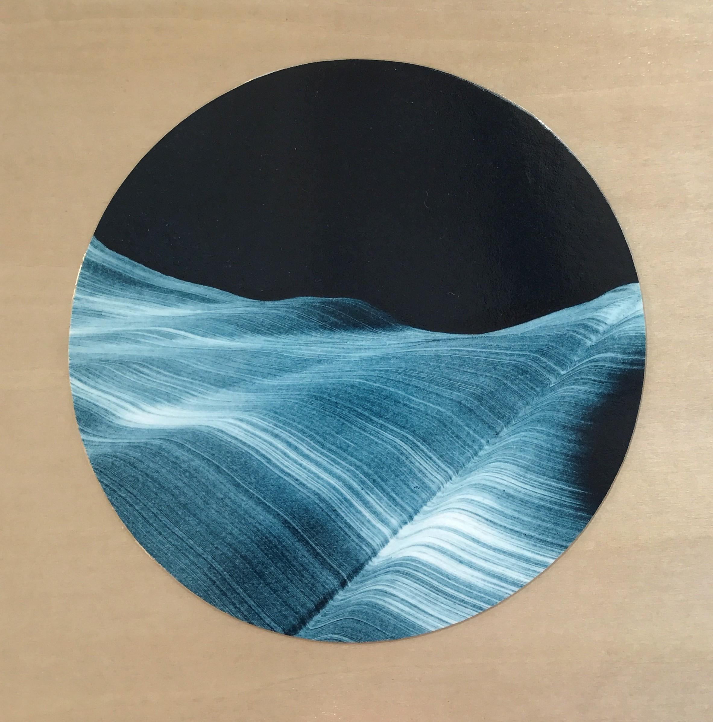 "Kristin Breiseth ,  Portal 5 , collaged gelatin plate monotype mounted on wood, 6"" x 6"", $250"