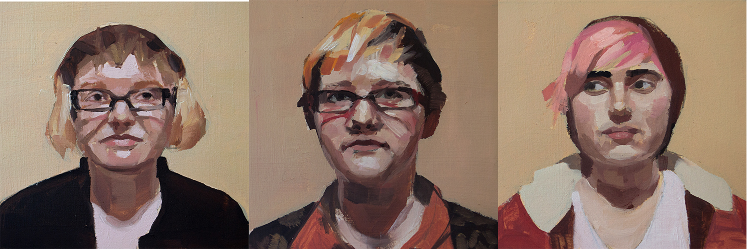 "Catherine Graffam ,  Portrait of Avvy, Rome, and Marley , oil on paper, 7 ¾"" x 17 ¾"" framed, $650"