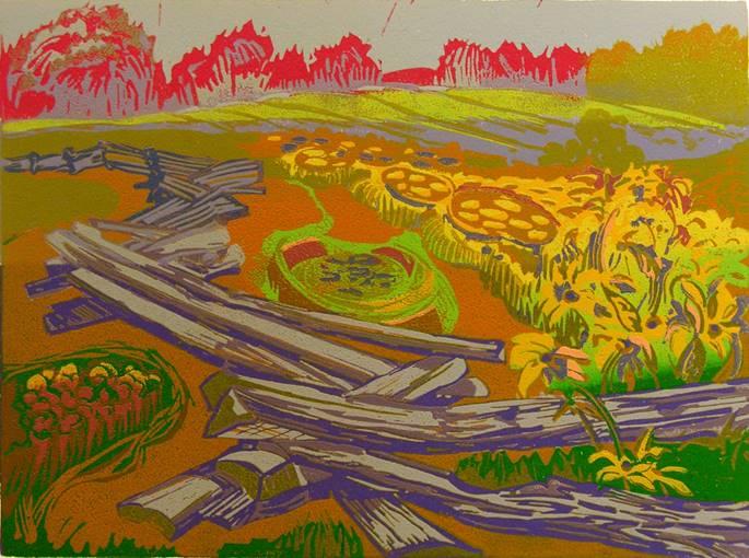 """Susan Jaworski-Stranc ,  The Great Divide  (1/14) , reduction linoleum print on paper, 17 ¼"""" x 20 ¼"""" framed, $575"""