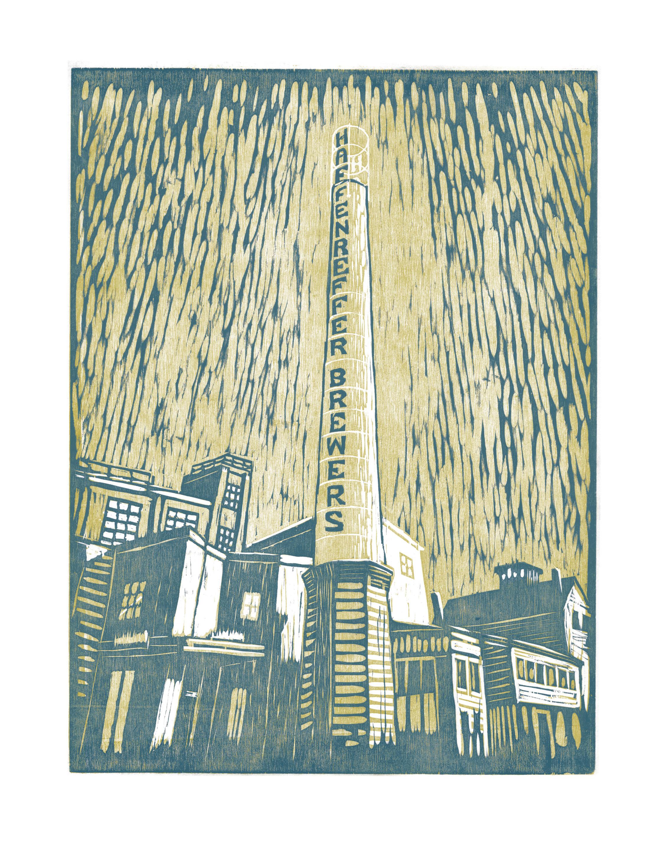 """Robert Maloney ,  Haffenreffer Restoration (A/P) , woodcut on paper, 20"""" x 16"""" framed, $240"""