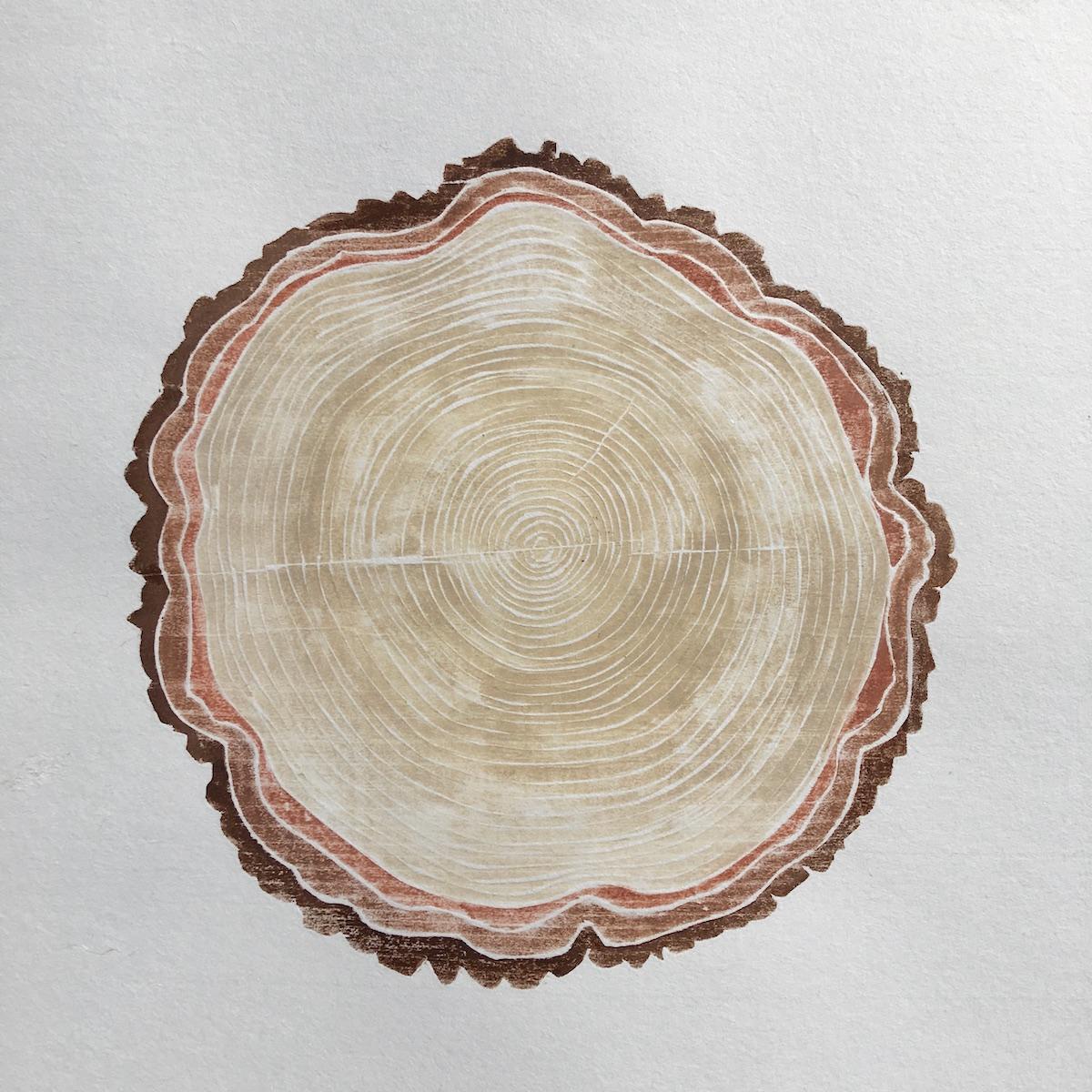 "Amy McGregor-Radin , Old Friend , white line woodcut monoprint, 18 ½"" x 17"" framed,$400"