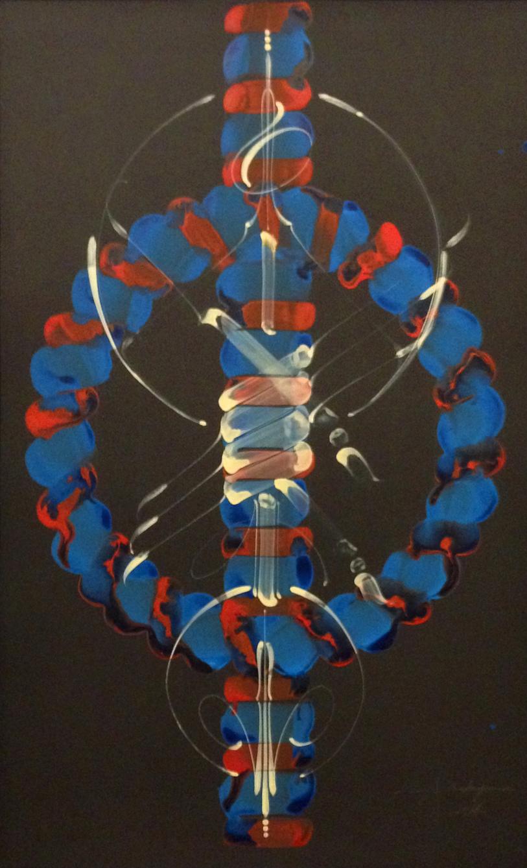 """Kenji Nakayama ,  Étude No. 50 , acrylic and enamel on paper, 33 ¾"""" x 21 ¾"""" framed, $600"""