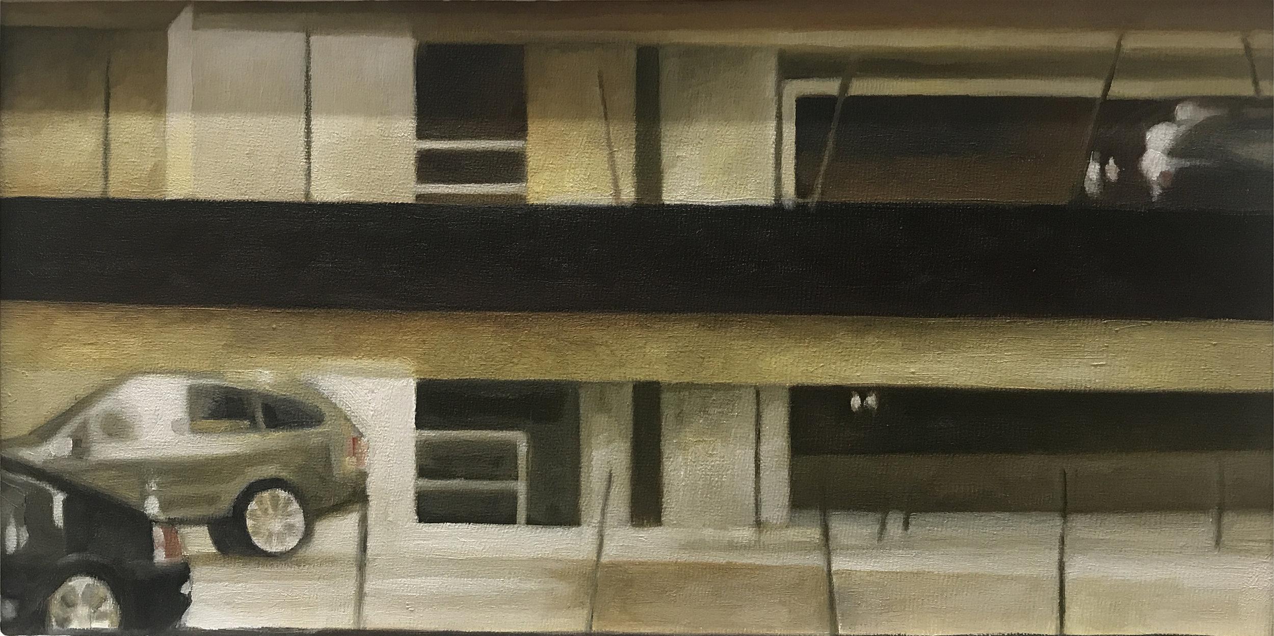 "David Palmquist ,  Des Moines Parking Garage , oil on panel, 11 ¼"" x 17 ¼"" framed, $650"