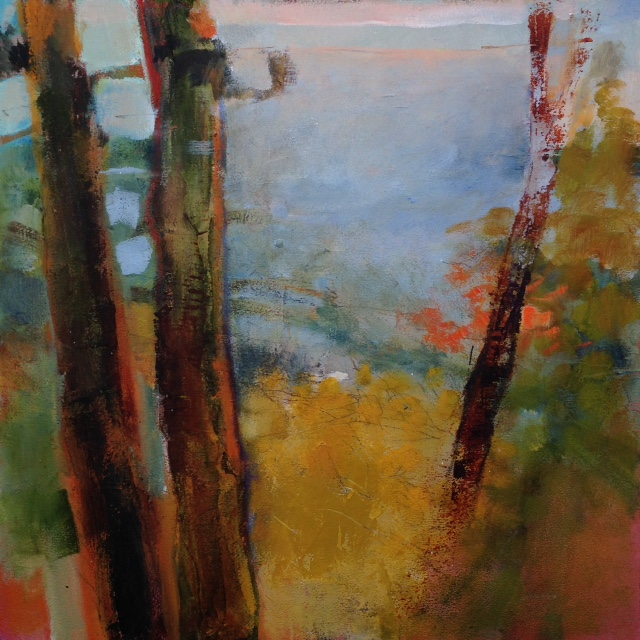 "Heather Pilchard ,  Cape Cod Pines 2 , oil on board, 12 ¾"" x 12 ¾"" framed, $525"