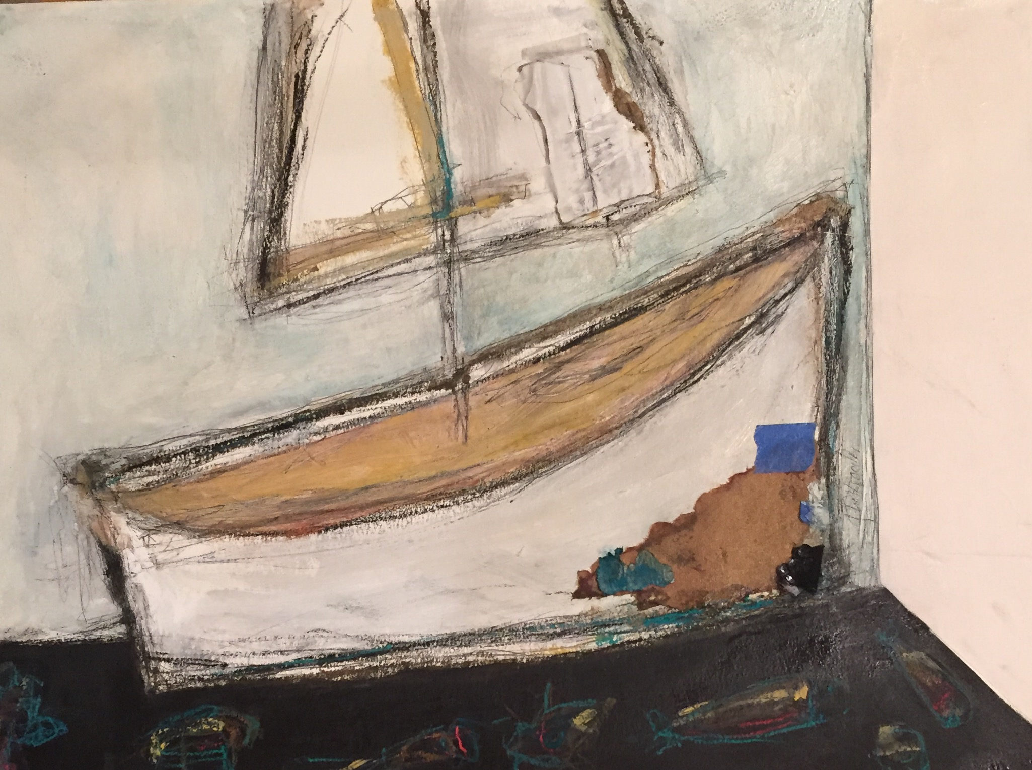 "Karla Quattrocchi ,  A Boat for Liam , oil, acrylic, pencil, crayon, tar, cardboard, vintage paper, painter's tape, sequins and shellac on paper, 20"" x 26"" framed, $1,400"