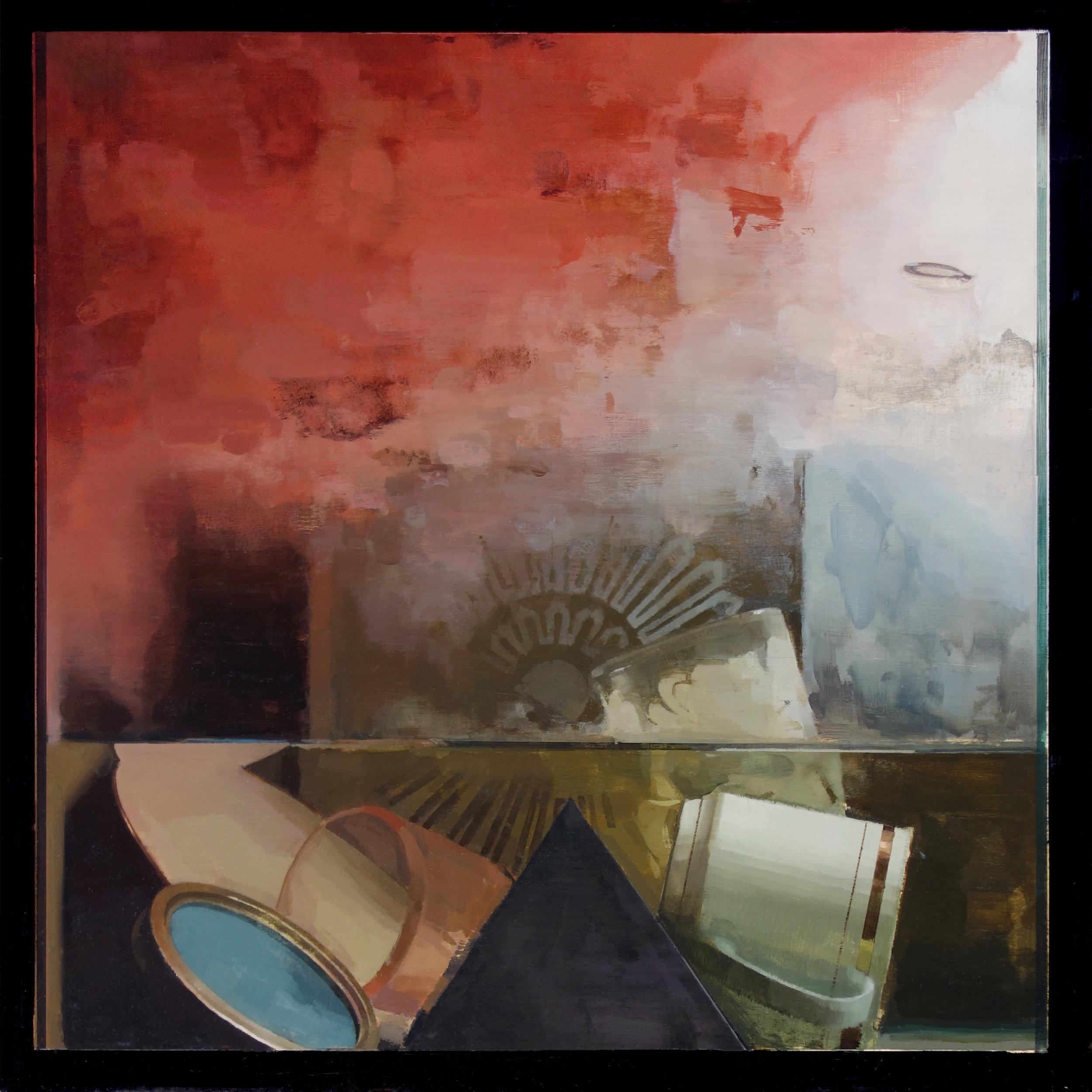 "Mike Ryczek ,  Pleasure Principle , oil on masonite, 22 ¼"" x 22 ¼"" framed, sold"