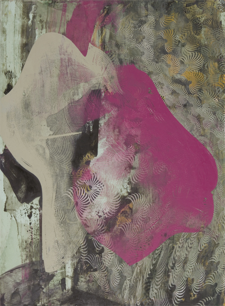 "Dorothea Van Camp ,  Untitled 1676 , screenprinted oil and wax on dibond, 15"" x 11"", $450"