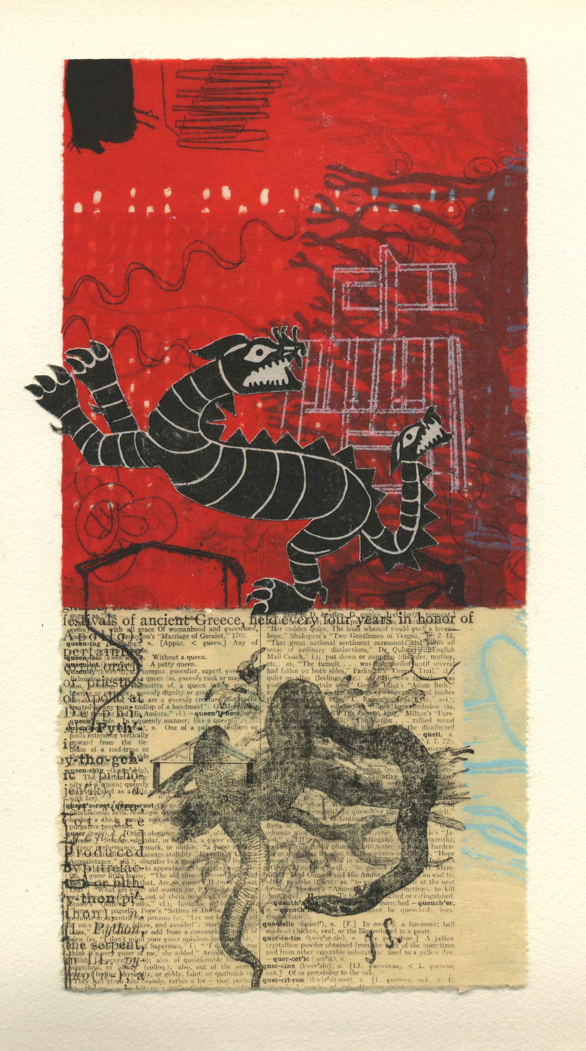 "Nina Wishnok ,  Red Dragon , monotype collage, chine-collé on paper, 18"" x 16"" framed, $625"