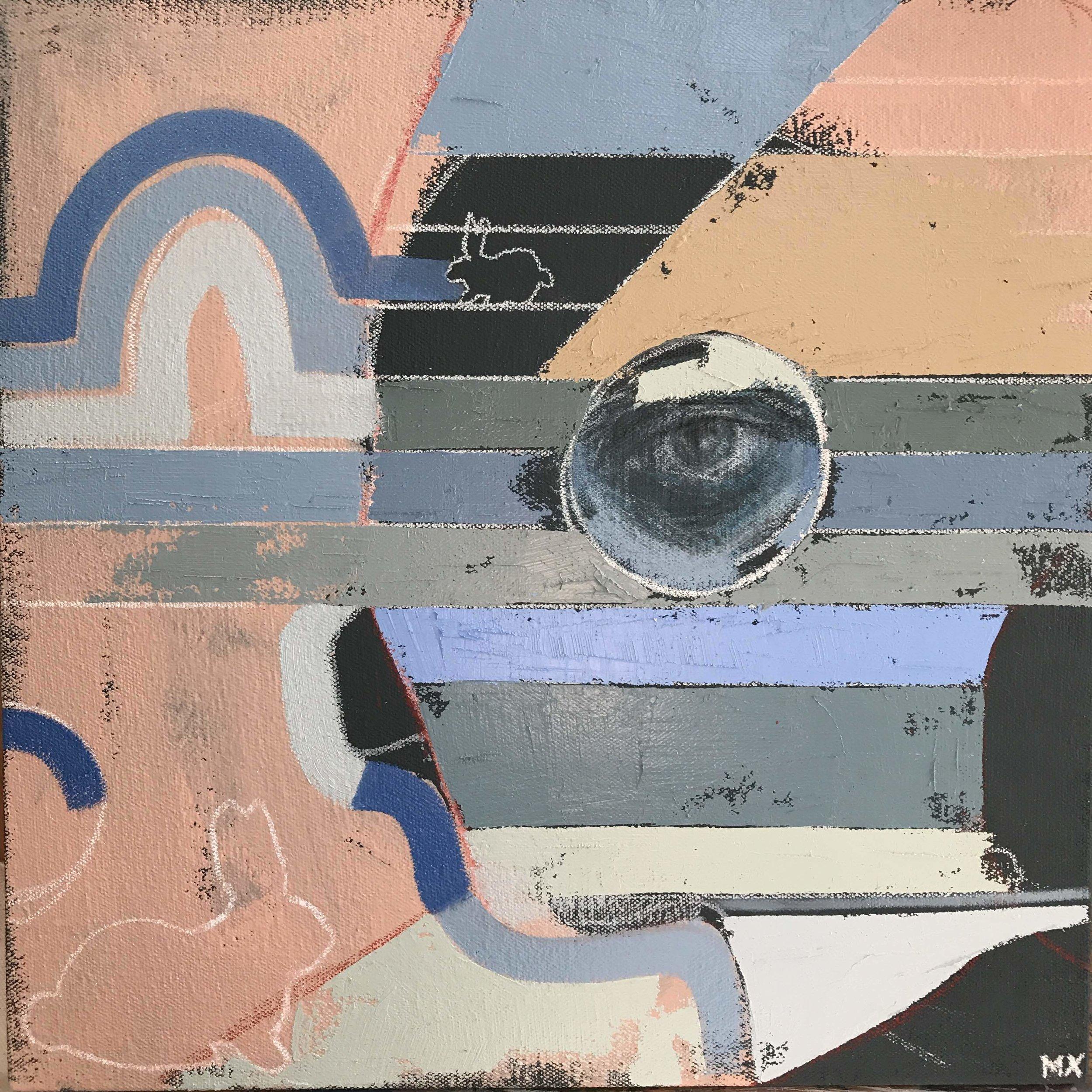 """Rabbit Hole , acrylic and pencil on canvas, 12"""" x 12"""", $350"""