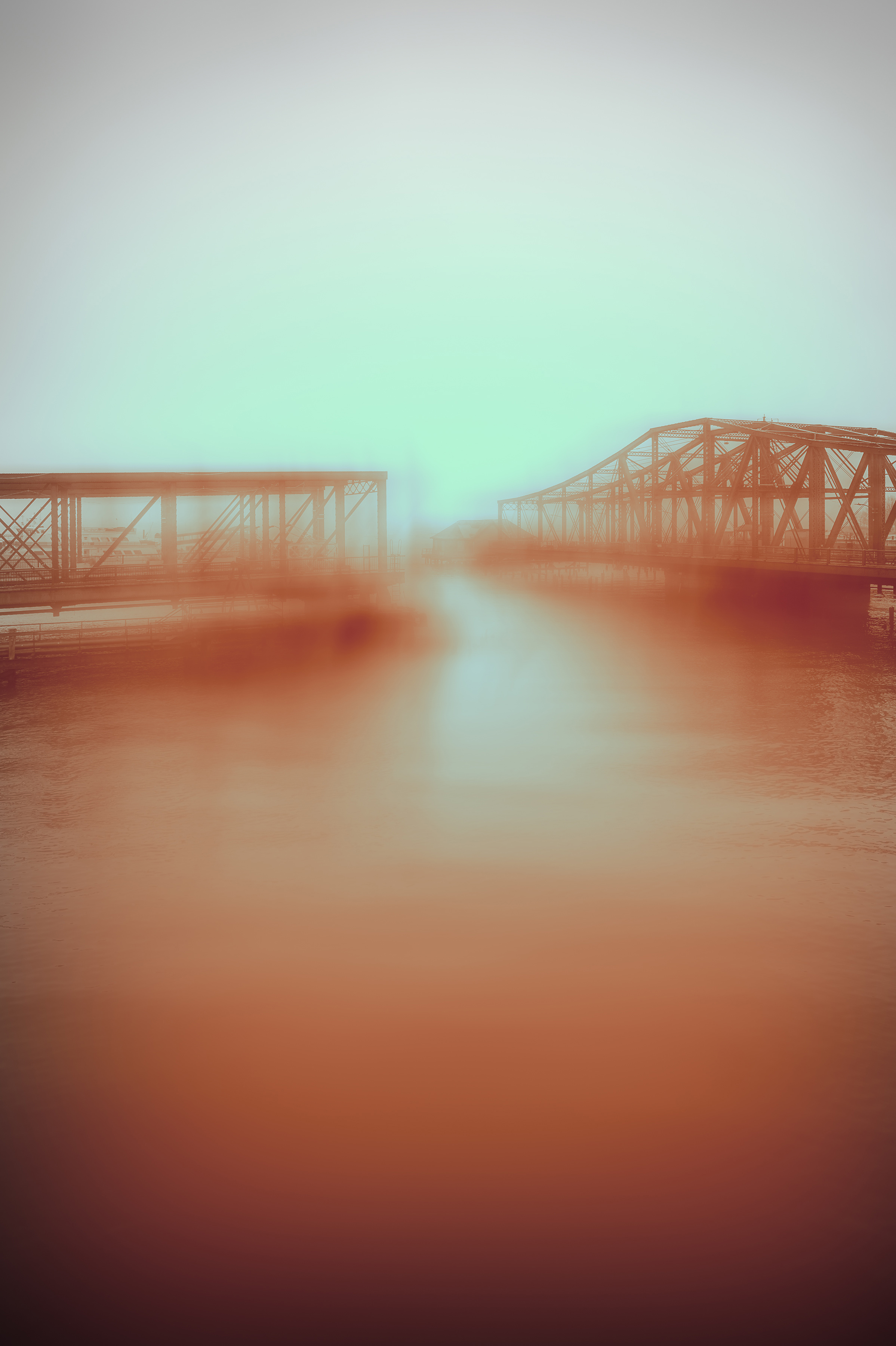 "Bridge with Raw Sienna 8:32 am , digital photograph on plexiglass, 24"" x 16"", $900"