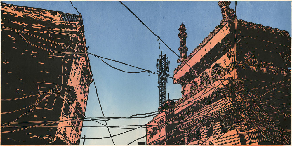 "Jaipur Sky V2 (2/5) , woodcut print on paper, 20 1/2"" x 32"" framed, $1,000"