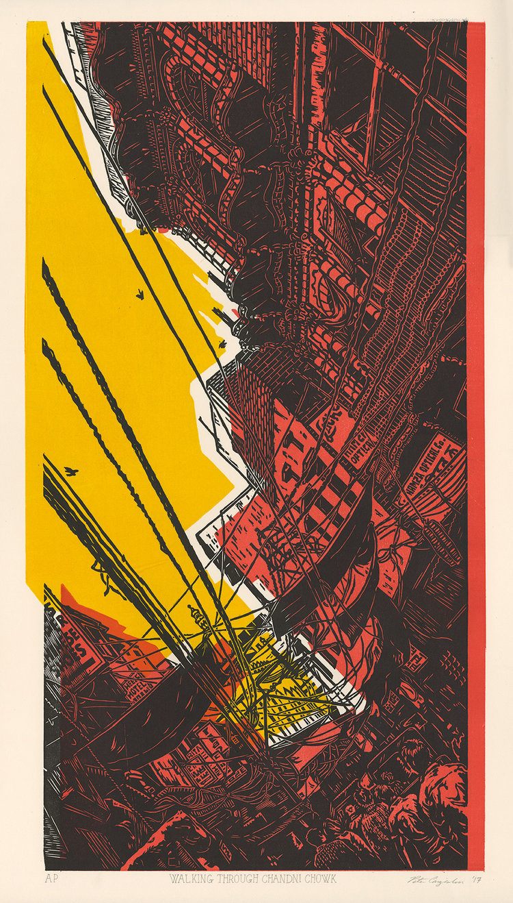 "Walking Through Chandni Chowk  (A/P), off-registered woodcut print on paper, 24"" x 13"""