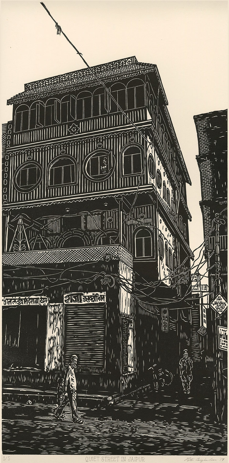 """Peter Cangialosi , Quiet Street in Jaipur , woodcut print on paper, 24"""" x 12"""" unframed, $550"""