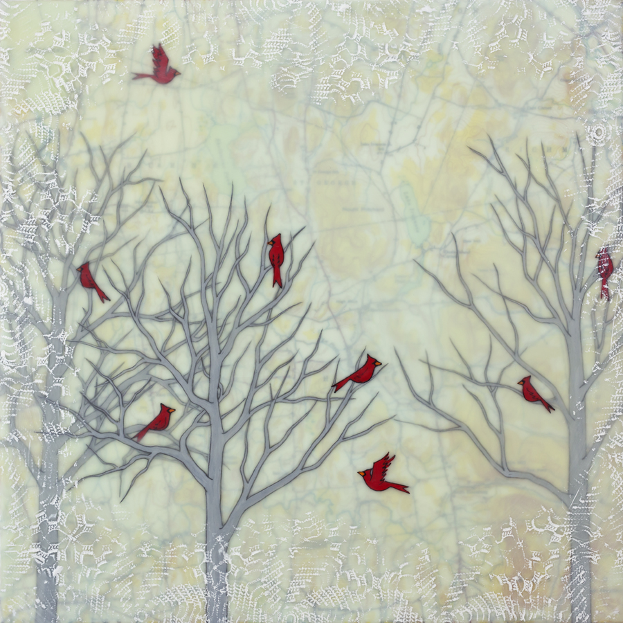 "Vermont Cardinals , encaustic, gouache, oil stick, rice paper, cut paper, mounted on birch panel, reclaimed beach fence frame, 12 ½"" x 12 ½"", sold"