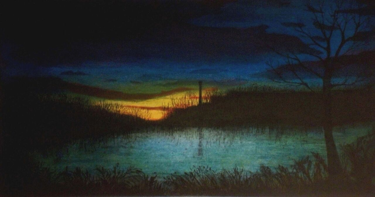 """Mood Indigo , multi-plate color etching, 16"""" x 23 1/2"""" paper size, $400"""