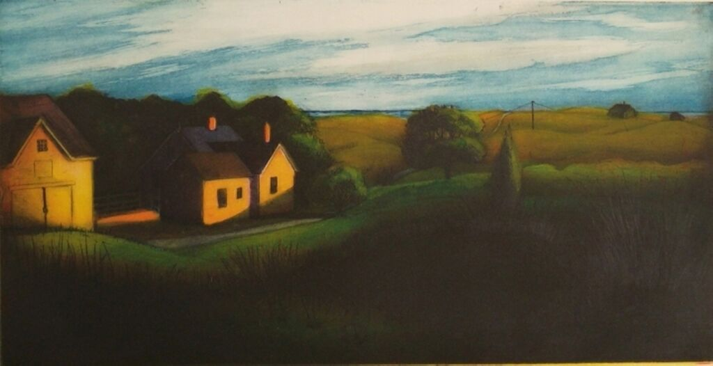 """Ryder House, Truro (After Hopper) , multi-plate color etching, 18 1/2"""" x 25"""" framed, $550, available unframed, $450"""