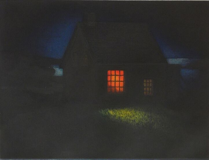 """Uncle Henry's (Monhegan Island) , multi-plate color etching, 14"""" x 17"""" paper size, $350"""