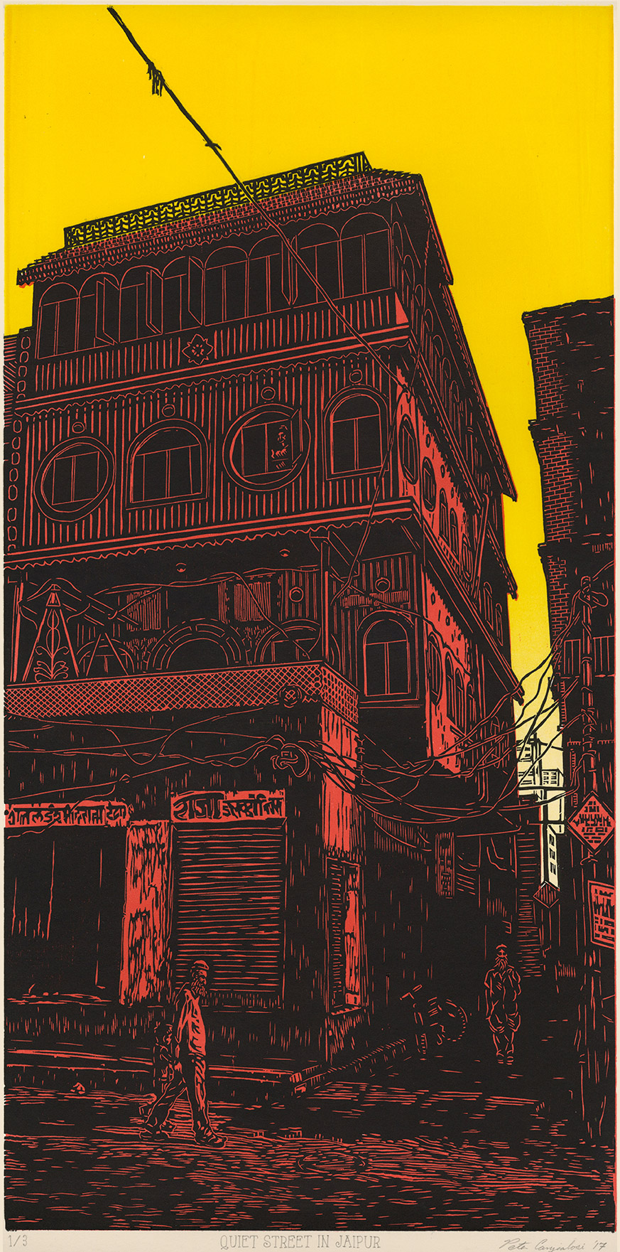 "Quiet Street in Jaipur V4 (2/3) , woodcut print on paper, 32"" x 20"" framed, $1,000"