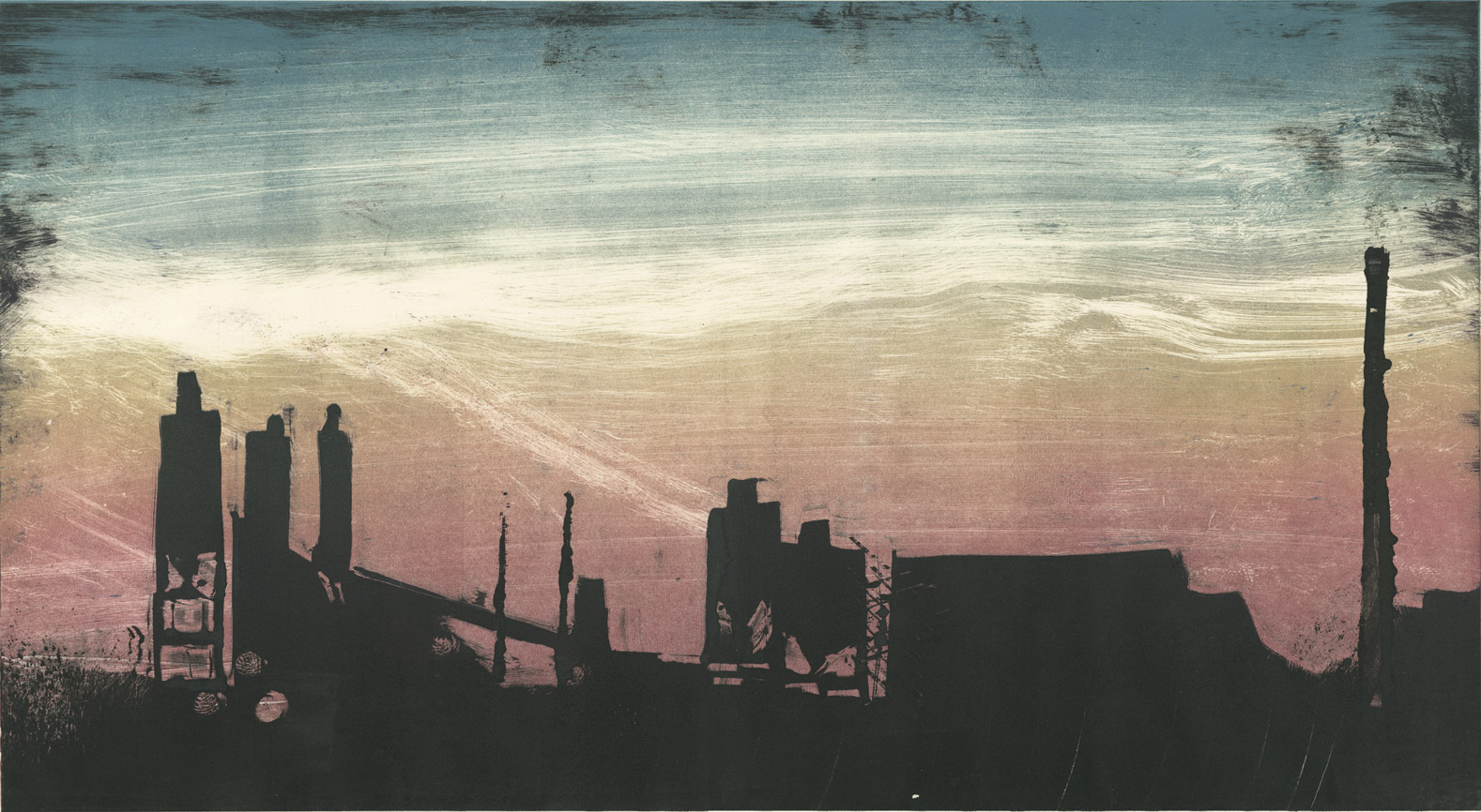 "Factories - Baltimore 95N , monotype, 24"" x 34"" framed, $1,200"
